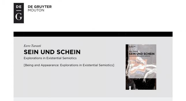New book: Sein und Schein : Explorations in Existential Semiotics